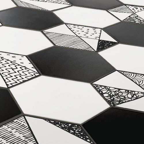 Carrelage noir et blanc hexagonal CARTOON 1