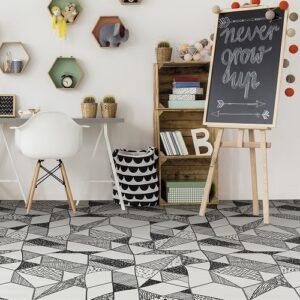 Carrelage noir et blanc hexagonal CARTOON