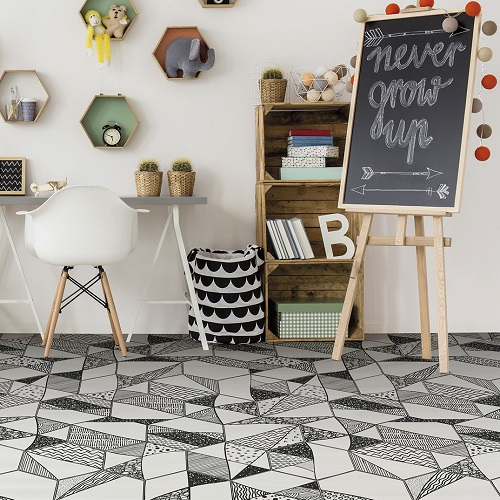Carrelage noir et blanc hexagonal CARTOON 2