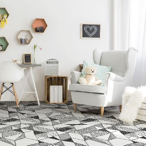 Carrelage noir et blanc hexagonal CARTOON 3