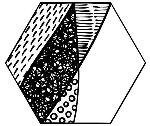 Carrelage noir et blanc hexagonal CARTOON – gros plan 1 motif